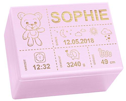 LAUBLUST Holzkiste mit Gravur - Personalisiert mit GEBURTSDATEN - Rosa, Größe XL - Teddybär Motiv - Erinnerungskiste als Geschenk zur Geburt