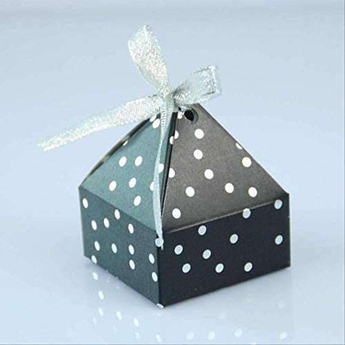 Geschenkdoos BLTLYX 50st Goud Bronzing Dot Souvenir Geschenkdozen Kleine kartonnen doos Papieren geschenkdoos Verpakking Evenement en feestartikelen 6 * 6 * 7.5cm Zwart