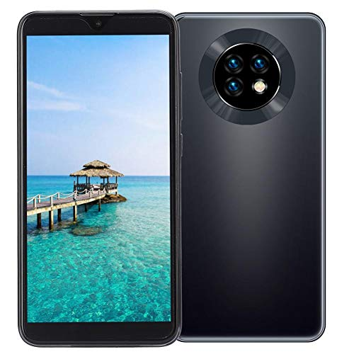 Smartphone desbloqueado para Android, teléfono celular dual SIM de pantalla completa de 6.1 'con identificación facial, 3 + 32G, tarjeta de memoria de 128GB, batería de 4800Mah, 8MP + 13MP (negro)(EU)