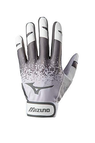 Mizuno Finch Adult Softball Batting Glove, White/Grey, Medium