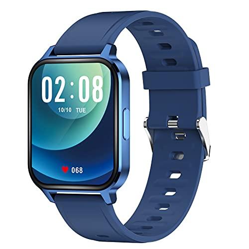 Huante para Android TeléFonos, Reloj con Monitor de Frecuencia CardíAca y SueeO, con PodóMetro Impermeable IP68 Reloj Inteligente Azul