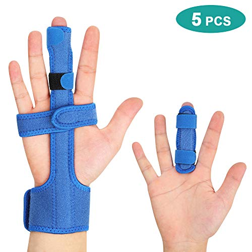 Trigger Finger Splint, Finger Extension Splint for Middle Finger Dislocated Broken Thumb Index Ring Pinky Finger, Adjustable Aluminium Support for Extension Straightening Arthritis Knuckle Brace