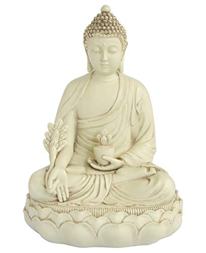 Buddha Groove Healing Medicine Buddha Statue with Elegant Off-White Finish and Made of Cast Stone in a Minimalist Serene Design | 11.5 Inches Tall