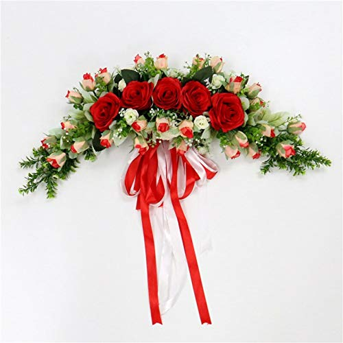 QT HOUSEWARE Fall Wreaths for Front Door - Rose Artificial Flowers Garland European Lintel Wall Decorative Flower Door Wreath for Wedding Home Christmas Decoration