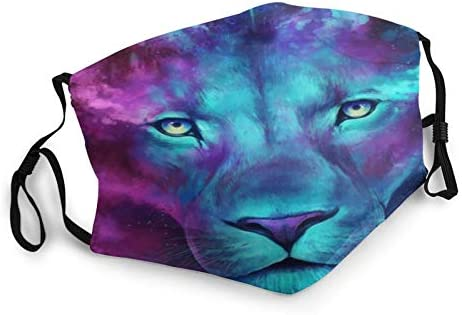Fashion Dust Cover Women Reusable Washable with Animal Lion Blue Print Breathable Balaclava product image