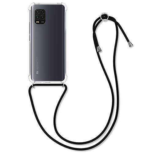 kwmobile Necklace Hülle kompatibel mit Xiaomi Mi 10 Lite (5G) - Hülle Silikon mit Handykette - Band Handyhülle Schwarz Transparent