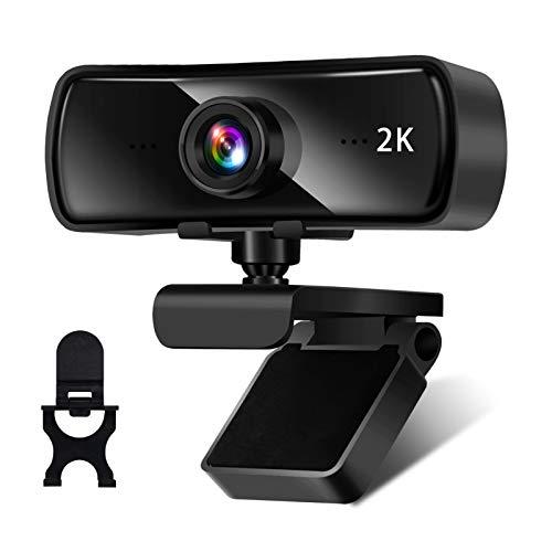 AceScreen Webcam 2K Full HD mit Stereo Mikrofon, 1440P Web-Kamera USB 2.0 Plug und Play, PC Webcam Kamera für Videochat und Aufnahme, Live-Streaming, kompatibel mit Windows, Mac und Android