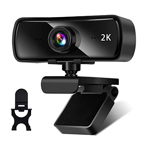 AceScreen Webcam 2K Full HD con Micrófono, PC Cámara Web para Video Chat, Streaming y Grabación, Diseño Plegable y Giratorio de 360 °, Compatible con Windows, Mac y Android