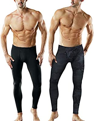 TSLA Men's Thermal Underwear Pants, Heated Warm Fleece Lined Long Johns Leggings, Winter Base Layer Bottoms, Thermal Fly-Front 2pack(mhb101) - Black/Woodland, Medium
