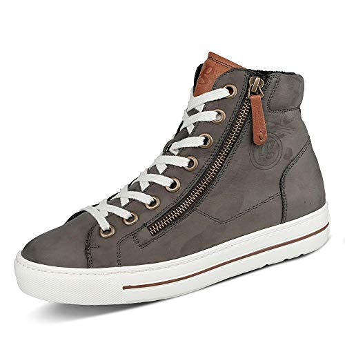 Paul Green Damen Sneaker 4810 Glattleder mit Schnürung und Super Soft Ausführung, Groesse 40, grau