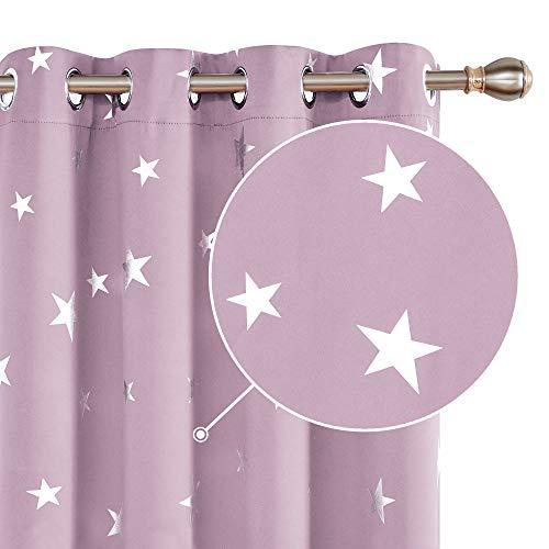 Deconovo Cortina Opacas Dormitorio Moderno con Aislamiento Térmico Color Sólido Decoración Hogar Infantiles Estrellas Plateada 117 x 229 cm Rosa Claro