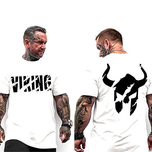 Camiseta de Guerrero Vikingo Para Hombre, Ropa de Fitness de Moda de Verano, Camiseta de Manga Corta Ajustada de Compresión, Ropa Deportiva Informal Para Correr en El Gimnasio,004,XXXL