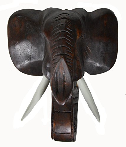 Hand Carved Mahogany Wood Elephant Head African Asian Wall Sculpture