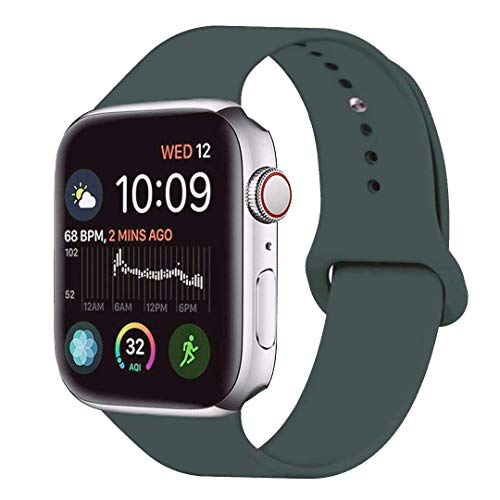 LITENG Sport Band Compatible with Watch Band 40mm 44mm 38mm 42mm Soft Silicone Replacement Sport Strap Compatible with 2019 Watch Series 5 2018 Watch Series 4/3/2/1 (Gery Olive Green, 38/40mm-ML)