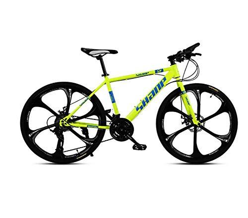 HAOGUO Ocio mayorBicicleta de montaña para Adultos 26 Pulgadas 27 velocidades VTT Bicicleta Frenos de Doble Disco Bicicleta de montaña Velocidad Fuera de Carretera ATV Bicicleta de montaña Amarillo