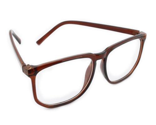 Bonamart Damen Brillengestell Herren Nerd Brille ohne stärke Lesebrille 8061 Brau