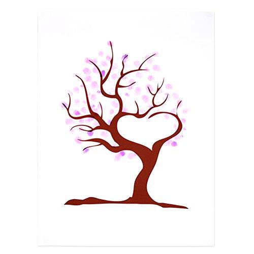 Yosoo 4 Arten Fingerabdruck Baum Hochzeits Gästebuch Hochzeits Gästebuch Plakat mit 6 Farben Tinte (Farbe : TYPE2#)
