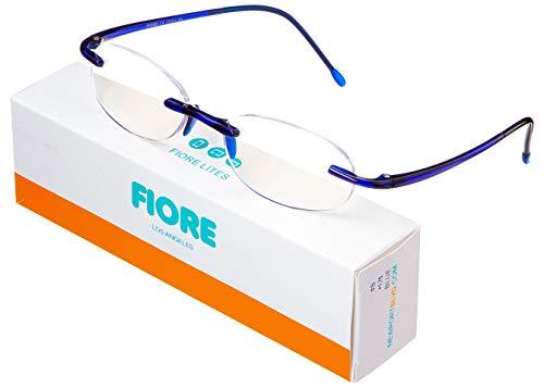Fiore Lites Rimless Computer Reading Glasses Blue Light Blocking Frameless Readers Reduce Eyestrain Clear Lens Lightweight TR90 Gaming Eyeglasses for Men and Women