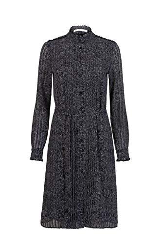 Steps Damen Abbey Cali Fließendes Crêpe-Chiffon Kleid Mit Herzdruk Und Rollkragen - Leicht Transparent Schwarz, 036