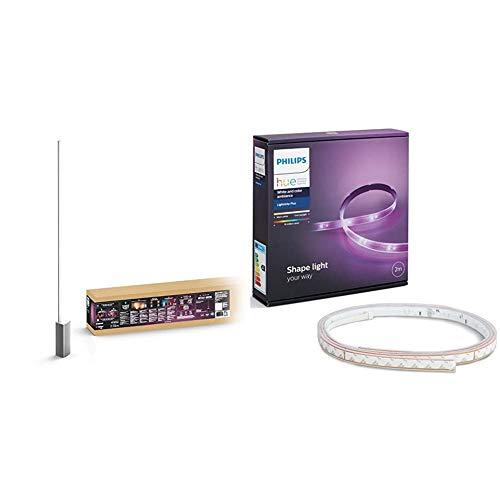 Philips Lighting Hue Signe White and Color Ambiance Lampada da Terra, LED Connessa, Alluminio, 24 V, 32 W & White and Color Lightstrip Plus Striscia LED 200 cm, Estendibile Fino 10 Metri, 1600 lumen