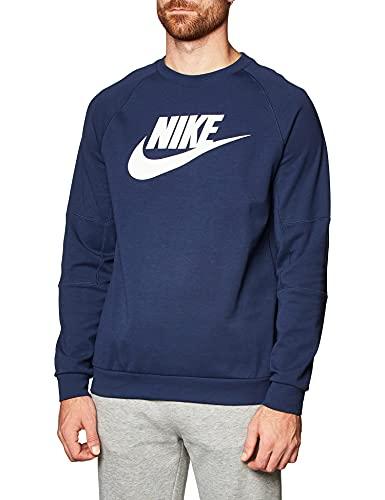 Nike Męska bluza polarowa Nsw Modern Crew granatowy/biały (Midnight Navy / White) 40