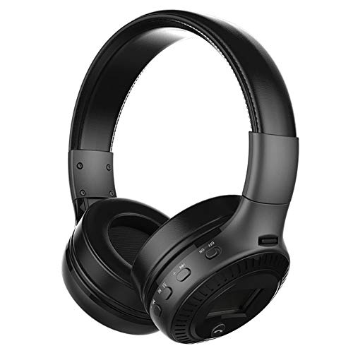 Auriculares Bluetooth plegables con micrófono y pantalla LCD con cable y modo inalámbrico para iPhone Android Tablet PC, negro