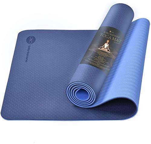 bobo banana Yogamatte, Gymnastikmatte, TPE rutschfeste Fitnessmatte Übungsunterlage für Fitness Pilates & Yoga Gymnastik - Maße 183cm Länge 61cm Breite (dunkelblau)
