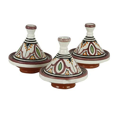 Casa Moro 3er Set Gewürze Tajine zum Servieren von Beilagen & Gewürzen   Kunsthandwerk aus Marrakesch   Schöne Dekoration und Geschenkidee