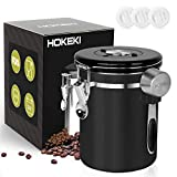 Airtight Coffee Canister, HOKEKI Stainless Steel Container for the Kitchen, Coffee Ground Vault Jar With One Way Co2 Valve And Scoop, Tea Coffee Sugar, Extra Coffee Spoon, 16 oz (Black)