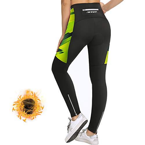 NICEWIN Pantaloni Ciclismo da Donna Invernali Lunghi Imbottiti Pantaloni Corsa Termici Calzamaglia 4D Gel Pad Traspiranti Rapido Asciutto Leggings Sportivi Donna