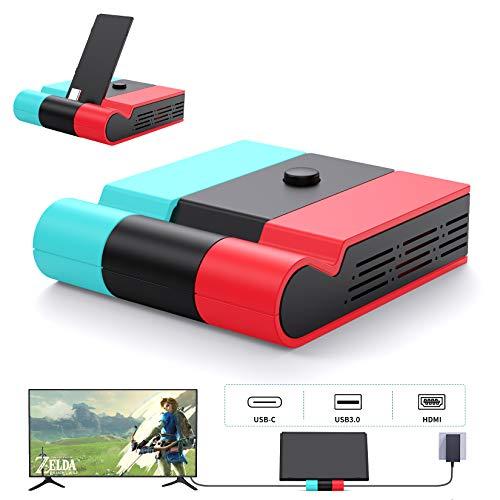 Switch ドック Aptezal スイッチ ドック 最新システム対応 (HDMI変換/TVモード/テーブルモード) 45W高出力対応 1080P高画質 放熱対策 スイッチ 充電スタンド 折りたたみ可 ニンテンド ポータブルUSBハブスタンド ジョイコン/プロコン接続 小型 アダプター Nintendo Switch NS スイッチ対応 日本語説明書付き