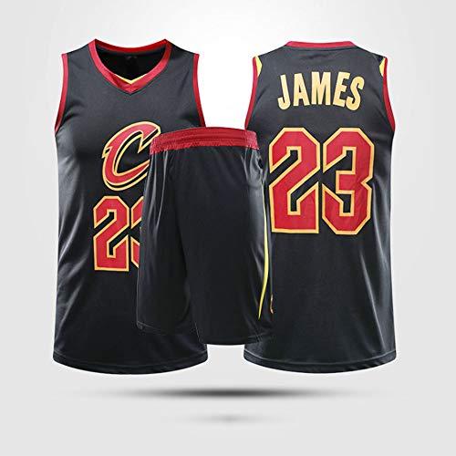 Maglie da Basket da Uomo, NBA Cleveland Cavaliers # 23 Lebron James - Child Adult Traspirable Gilet Uniformi Comfort Classico Comfort T-Shirt T-Shirt Set,Nero,XL(Adult) 165~170CM