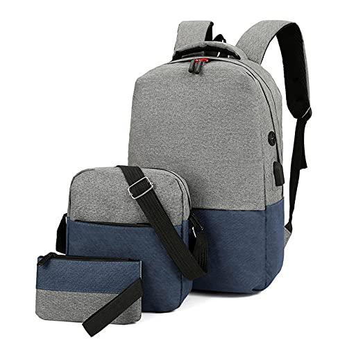 Mochilas escolares de viaje para mujeres adolescentes y niñas Bookbag lindo adolescente librerías conjunto bolsas de almuerzo+bolsa 3 en 1, azul, L