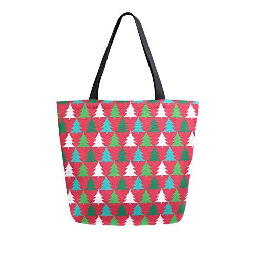 Mnsruu - Bolso de mano para mujer con diseño de árbol de Navidad, tamaño grande, estilo casual, reutilizable, para ir de compras, ir al gimnasio