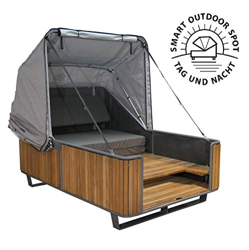 Strandkorbwerk Outdoor Bett liv.be by Ploß – 2in1 Bett und Lounge Sonneninsel (Teak)*