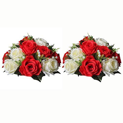 Nuptio 2 Pièces Fleurs Artificielles, 15 Têtes de Roses Plastique avec Base, Convient au Centre de la Table Mariage Notre Magasin pour Les Fêtes Décoration de Saint Valentin(Rouge&Blanc)