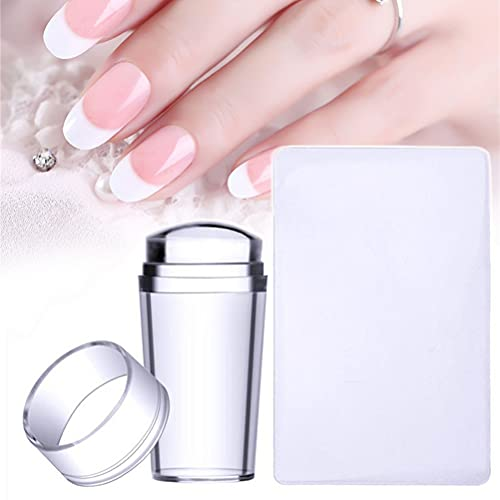 SOMOO French Manicure Nail Stamper, Clear Jelly Silicone Nail Art Stamper with Scraper, Transparent Visible Body, No Misplacement for DIY Nail Decor (Clear)