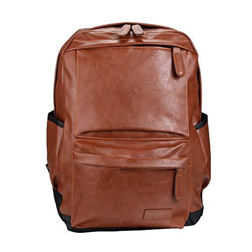 A-hyt Cómodas y cómodas mochilas unisex sin esfuerzo para negocios, bolsa de viaje de cuero negro, bolsos de hombro de moda para hombre, fácil caminata (color: marrón, tamaño: 30 cm x 43 cm x 15 cm)