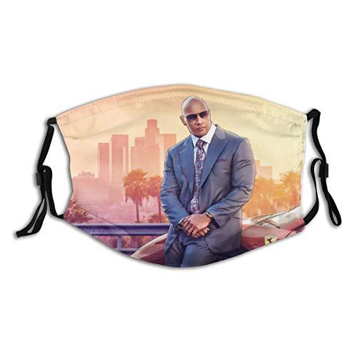 Dwayne-Douglas_Johnson Outdoor Face_Mask Anti-Dust Washable Breathable Fashion Design Balaclava Windproof with 2 PCS Filters Reusable Adjustable Mask for Men Women