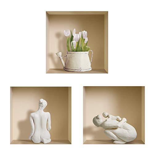 L'Nisha Art Magic vinyle 3D Autocollants mural amovible bricolage, Ensemble de 3, Statues blanches et pot de fleur
