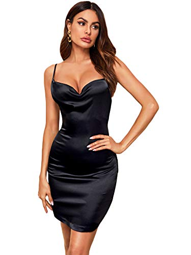 DIDK Damen Satin Kleid Cowl Partykleid Spaghettiträger Abendkleid Bodycon Bleistiftkleid Elegant Camisole Knielang Kleider Schwarz XS
