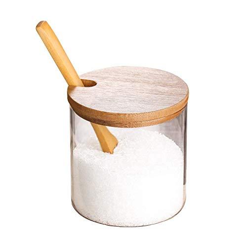 litulituhallo Suministros de cocina Salsa de condimento Pot Glass Spice Jar Salt Container Tin