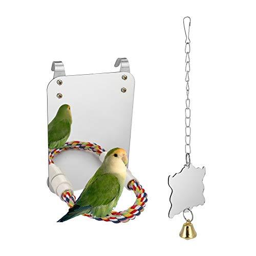 Filhome 2 Stück Vogel Spiegel mit Glocke Vogelständer Landespiegel Landeplatz 17.5 x 13 cm