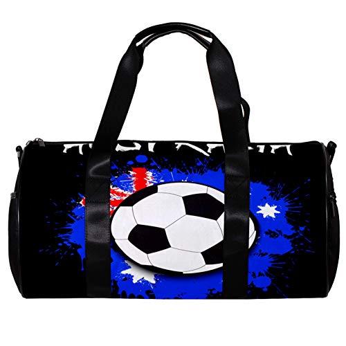 Borsone da palestra rotondo con tracolla staccabile bandiera nazionale e pallone da calcio borsa da allenamento per donne e uomini
