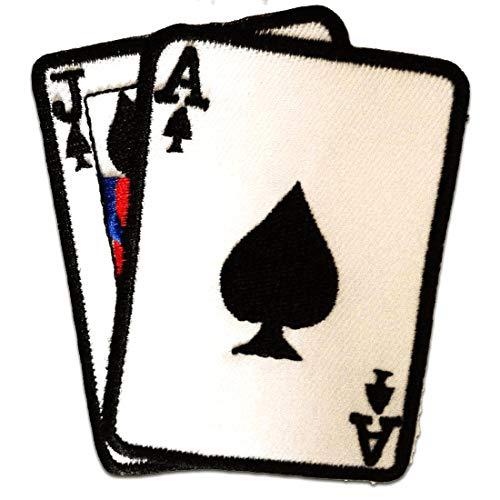 as cartas Poker - Parches termoadhesivos bordados aplique para ropa, tamaño: 7,5 x 8,5 cm