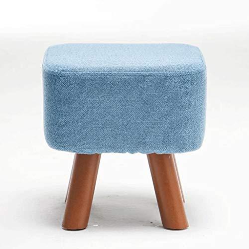 JYQ-SZRQ Sitzhocker Sitztruhe Ottoman Hocker Hocker Hocker aufgefülltem Stuhl Schuhe Bank mit abnehmbarem Leineneinband, 4 Holzbeine (Color : Blue)