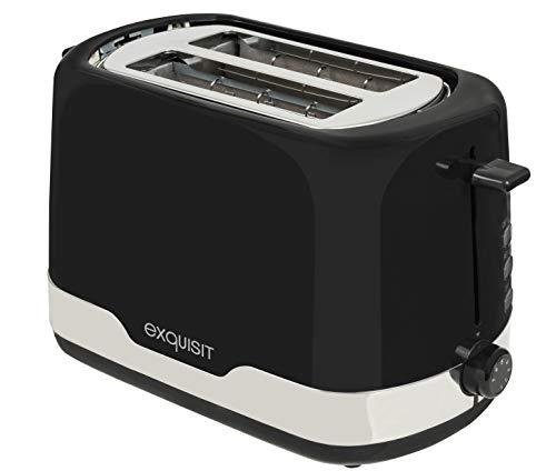 Exquisit Toaster TA 6101 swi | 2 Scheiben-Toaster | Doppelschlitz-Toaster |Brötchenaufsatz und Krümellade | 850 Watt | Bräunungsgrad stufenlos einstellbar| Schwarz