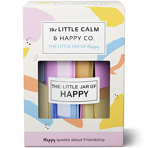 The Little Calm and Happy Company Happy Friendship Quotes Jar (30 Notes) Fun, Inspirational, Motivational Messages | Cute, Colorful Paper Slip Notes | Incl. Gift Box