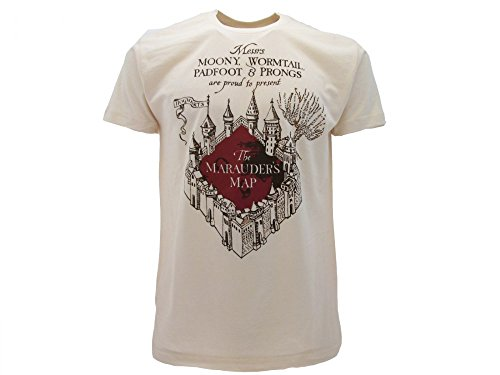 T-Shirt Originale Harry Potter Marauder's Map Marauders Beige Prodotto Ufficiale (M)