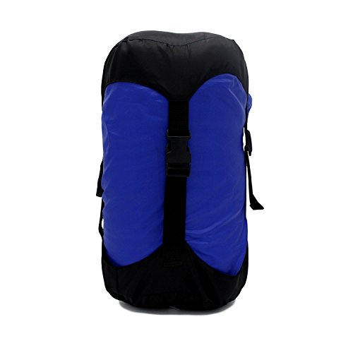 GoBackTrail Compression Stuff Sack – Water Resistant Polyester – Shrinks Bulky Items – Great for Sleeping Bags Clothes Camping Hiking Backpacking (Blue/14L)